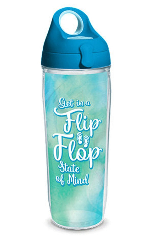 Wrapped Water Bottle - Flip Flop State of Mind Aqua  - FLIPFLOPSTAT