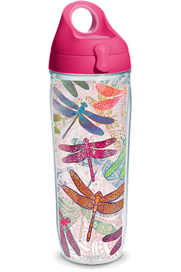 Wrapped Water Bottle - Dragonfly Mandalas Pink