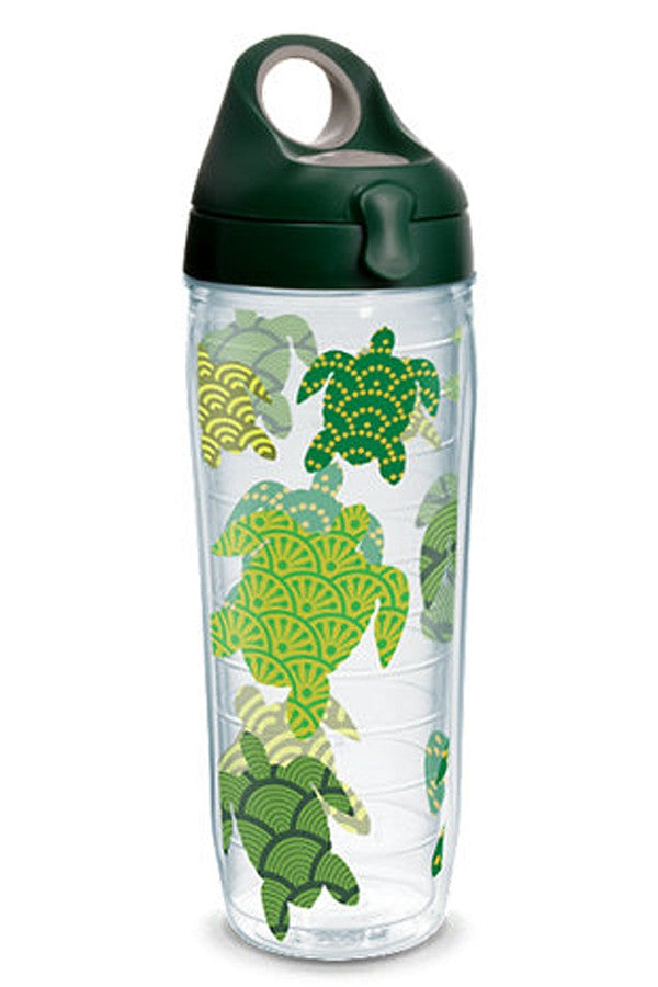 Wrapped Water Bottle - Sea Turtle Pattern Dark Green  - TURTLEPATTER
