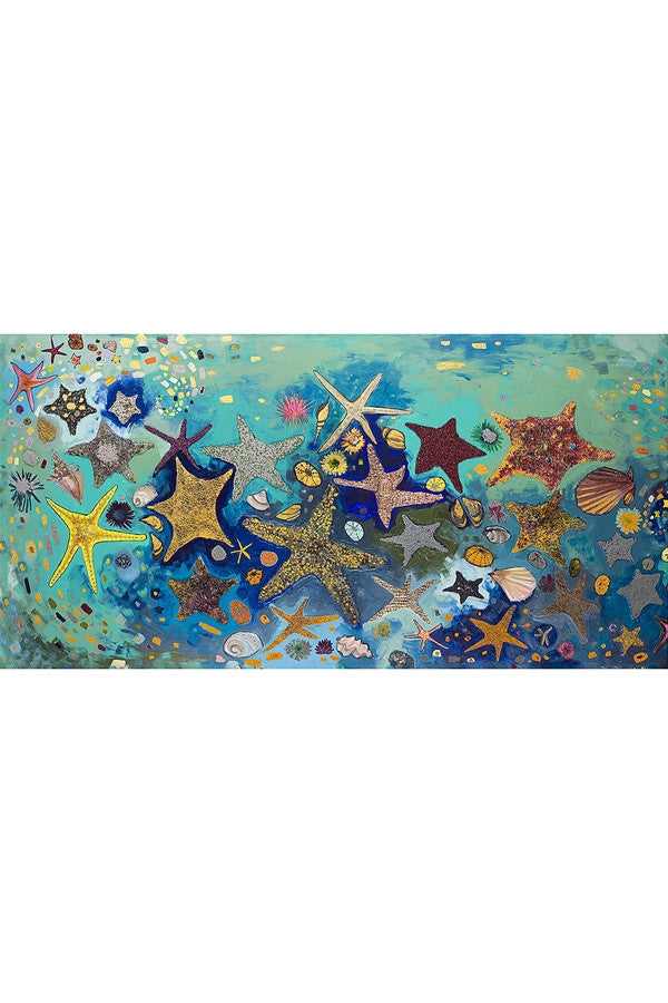 Whimsical Art Canvas - Metallic Starfish  - METALLICSTAR