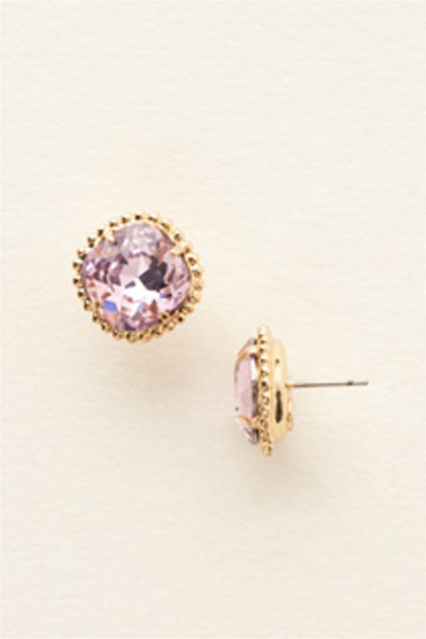 Cushion Cut Solitaire Stud Earring - Light Rose