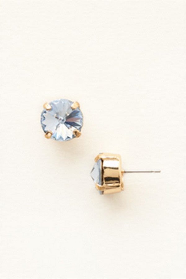 Round Crystal Stud Earring - Light Sapphire