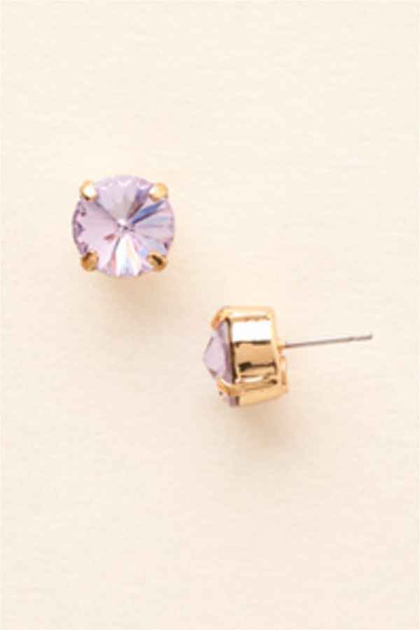 Round Crystal Stud Earring - Violet