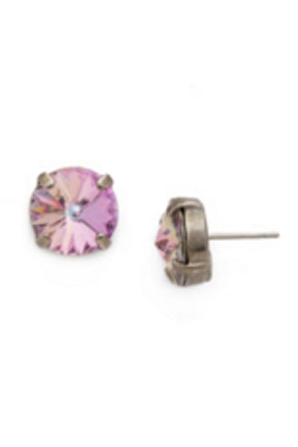 Radiant Rivoli Stud Earring - Purple Lotus
