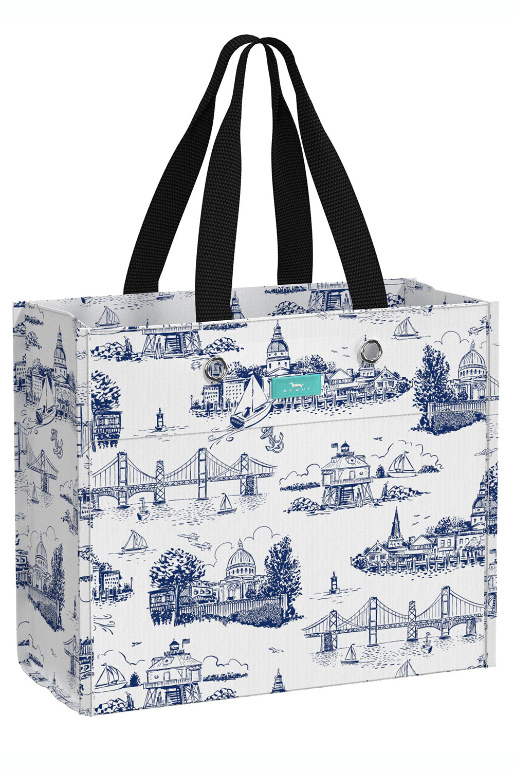 "Large Package Gift Bag - ""Exclusive Annapolis at Whimsicality in Navy & White"""
