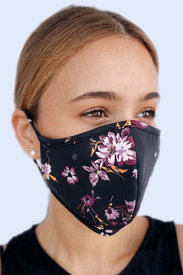 Reversible Face Mask - Marigold Floral on Black