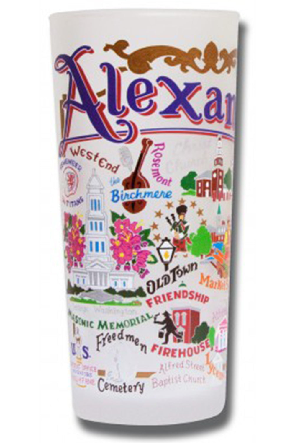CS Frosted Glass Tumbler Cup - Alexandria