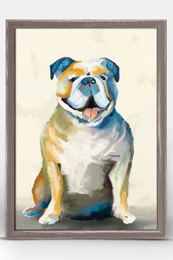 Rustic Mini Framed Canvas - Bulldog on Cream