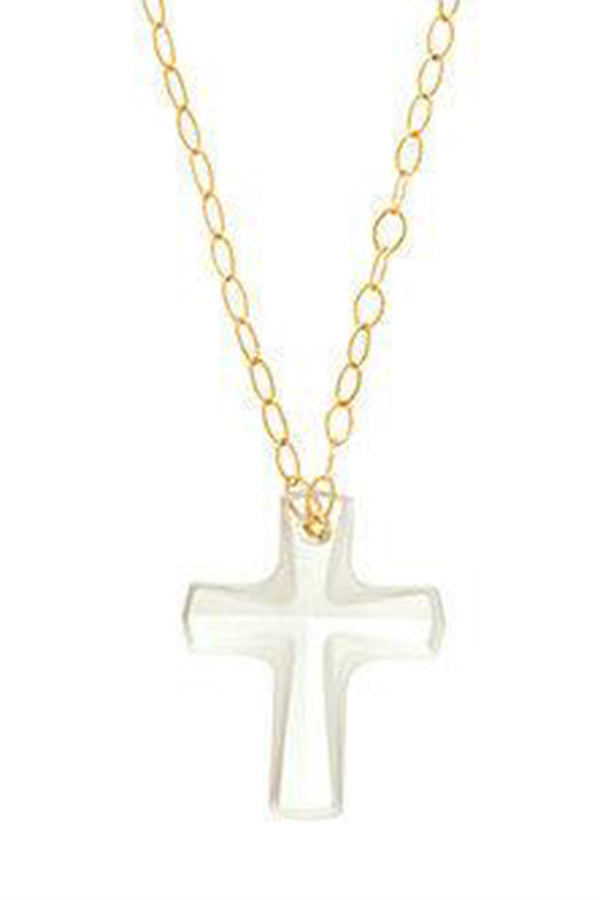 EN Crystal Cross Necklace - Gold