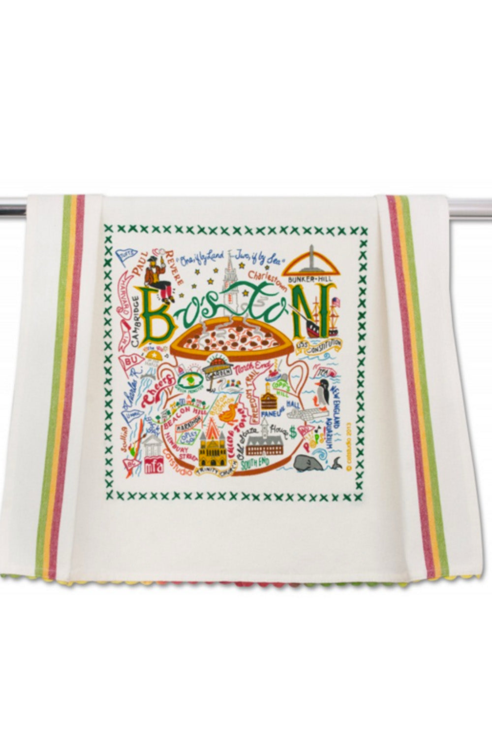 Embroidered Dish Towel - Boston