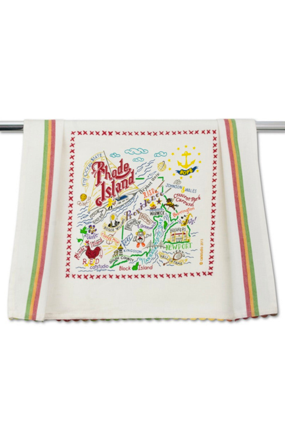 Embroidered Dish Towel - Rhode Island