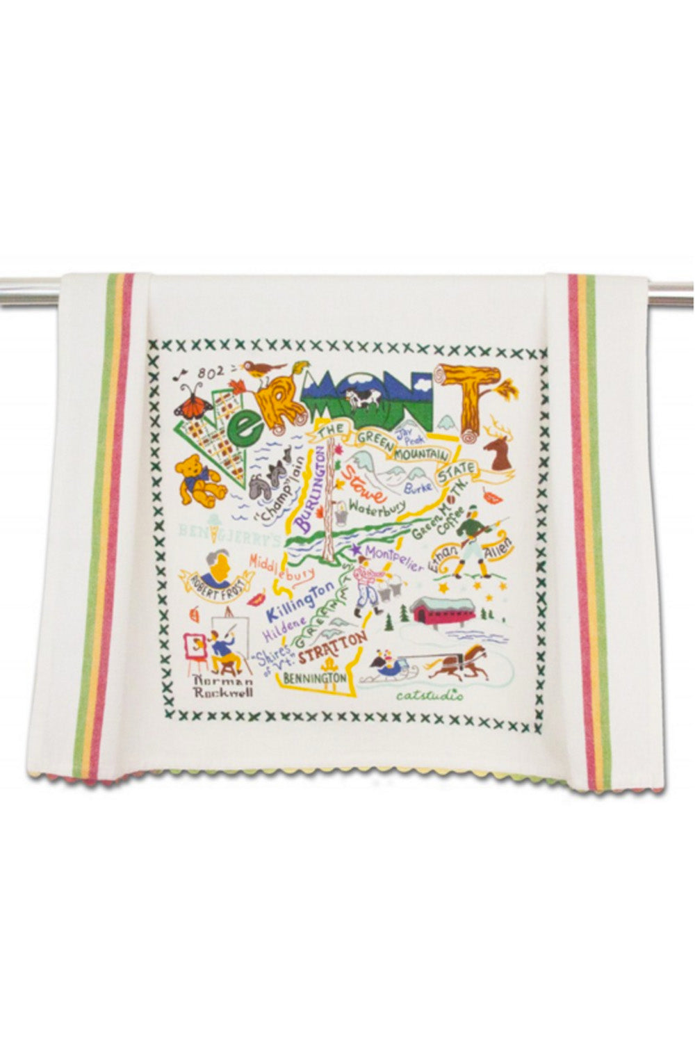 Embroidered Dish Towel - Vermont