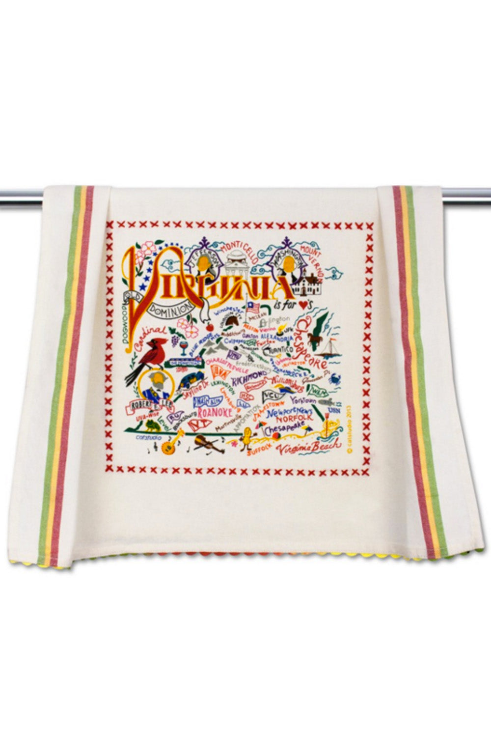 Embroidered Dish Towel - Virginia
