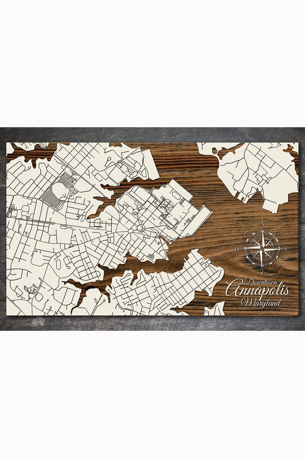 FP Wooden Map - Downtown Annapolis, Maryland (White)