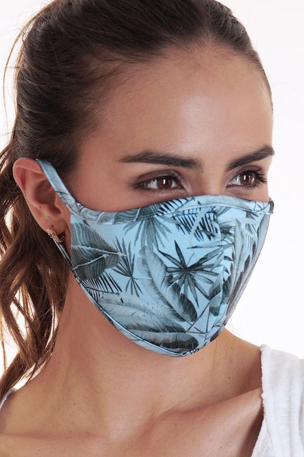 Reversible Face Mask - Light Blue Leaf