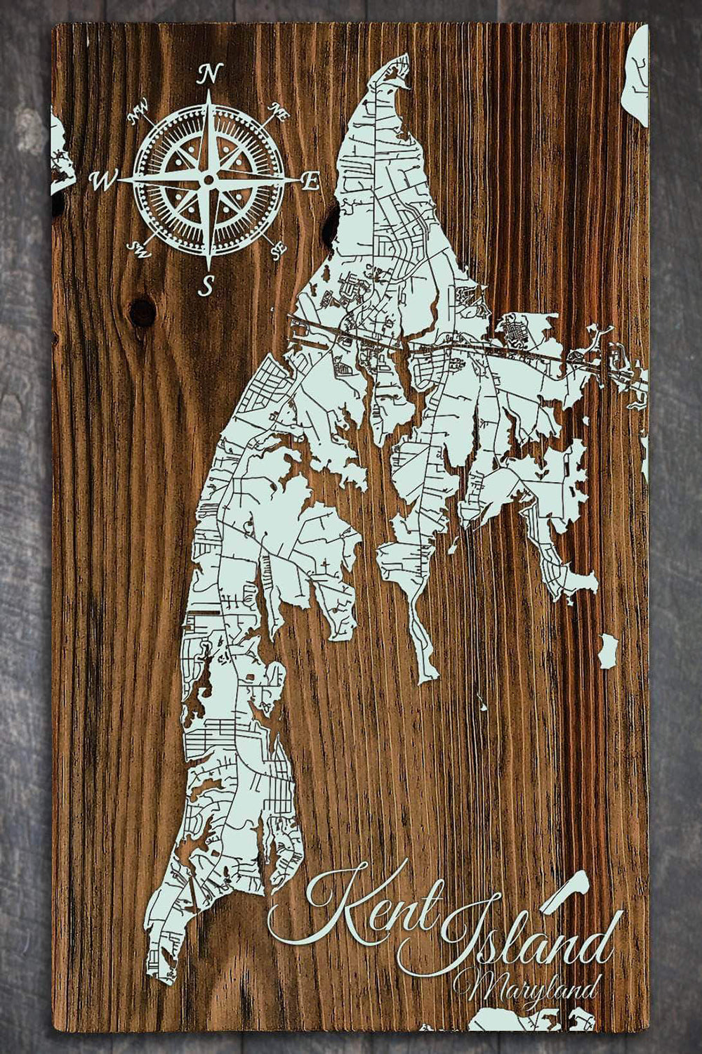 FP Wooden Map - Kent Island, Maryland (Seaglass)