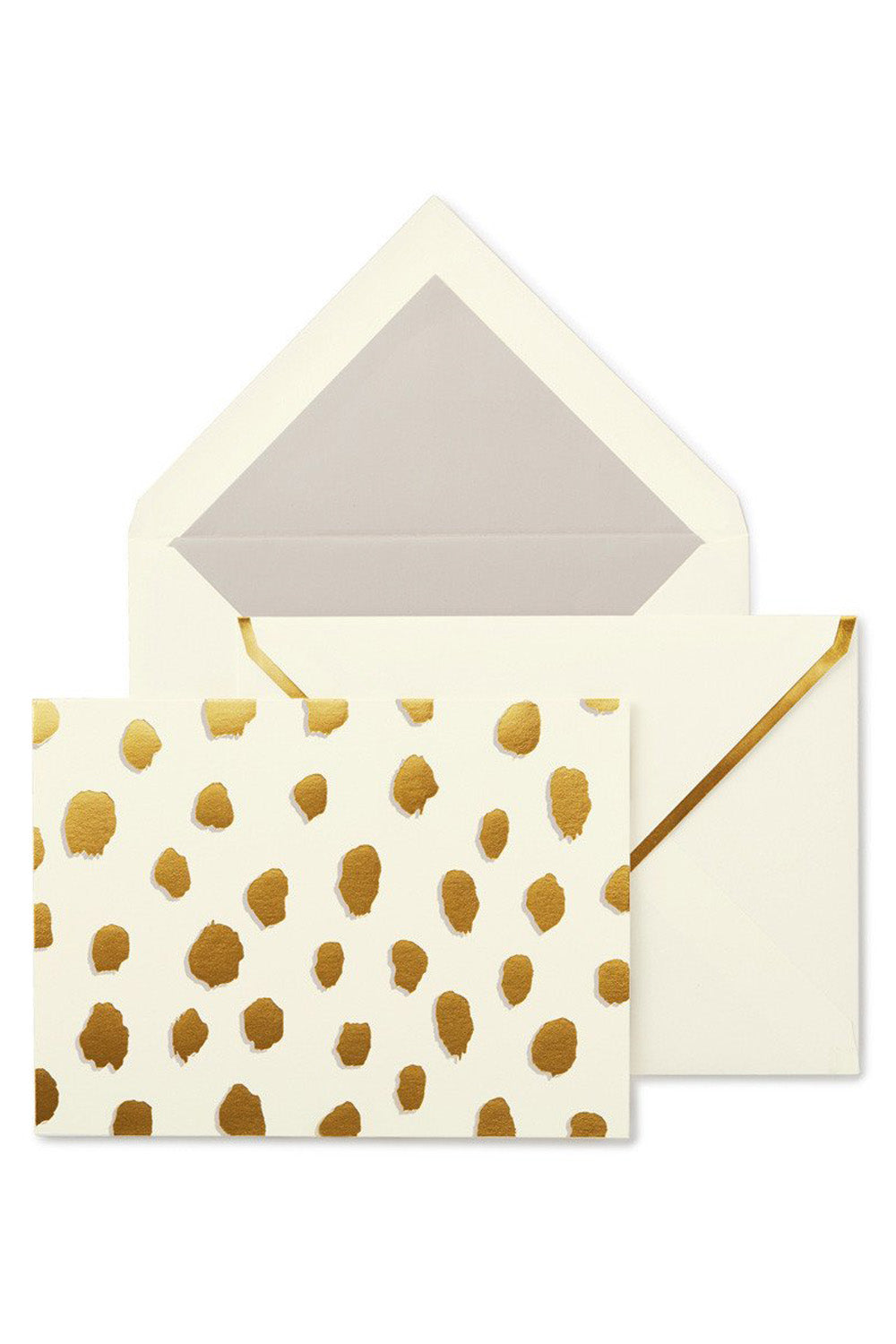 Preppy Kate Spade Notecard Set - Gold Flamingo Dot