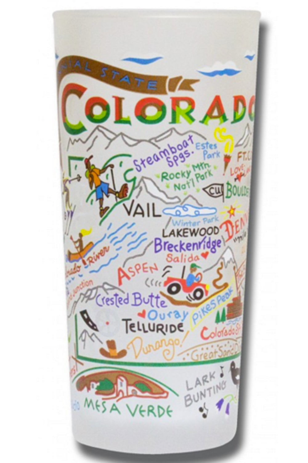 CS Frosted Glass Tumbler Cup - Colorado