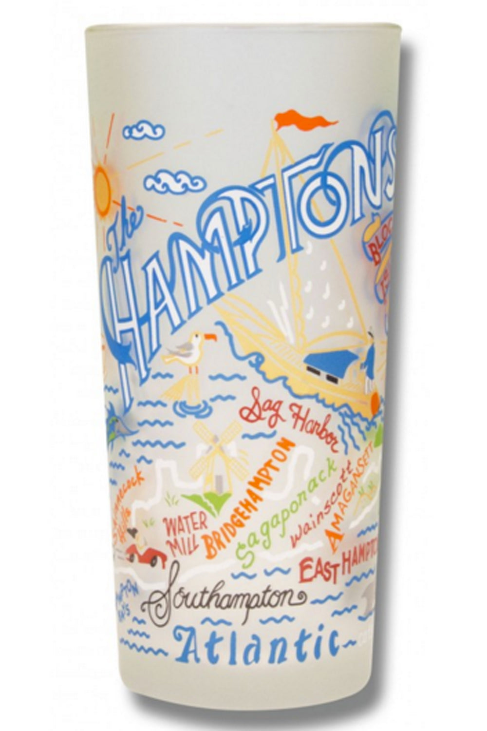 CS Frosted Glass Tumbler Cup - Hamptons