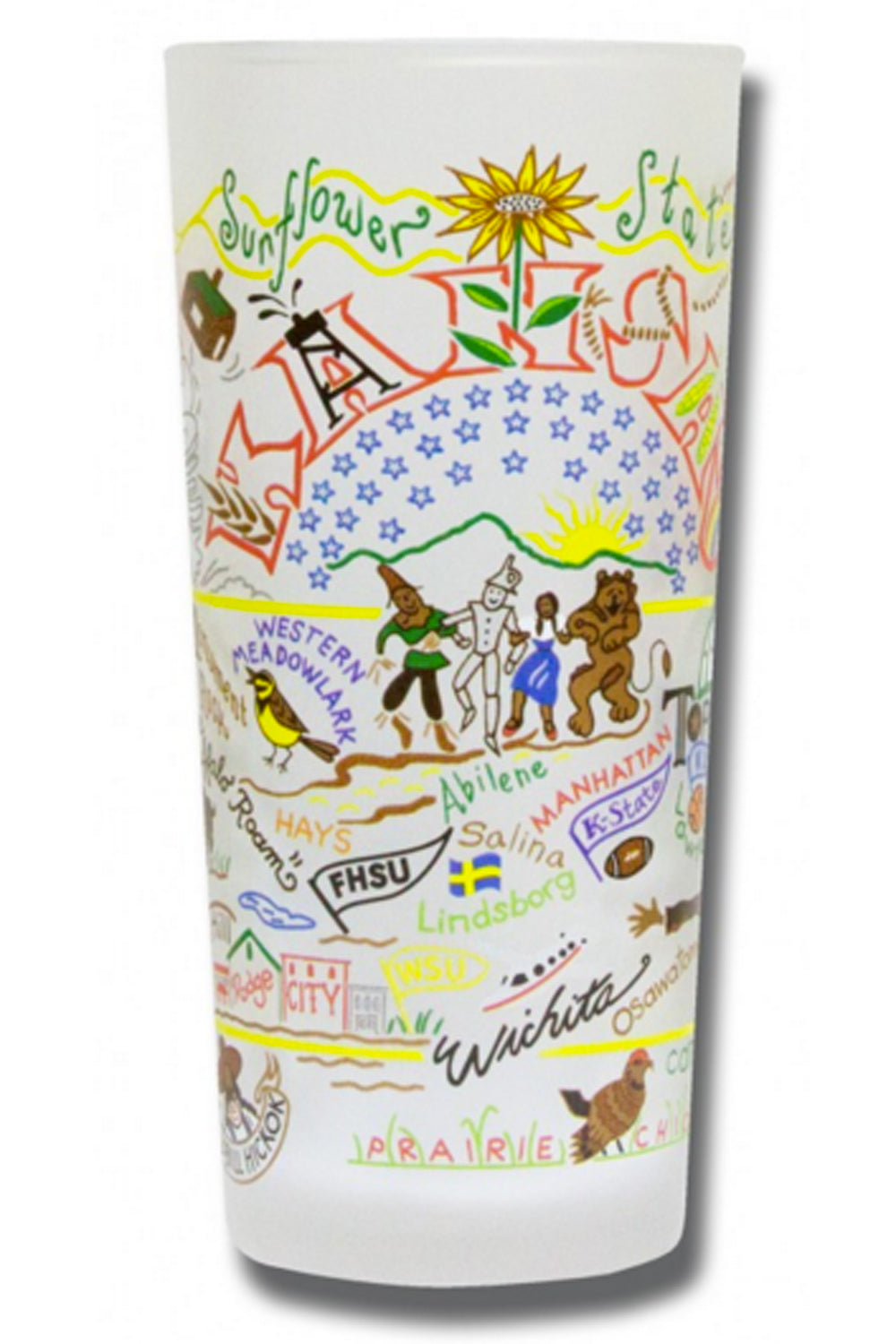 CS Frosted Glass Tumbler Cup - Kansas