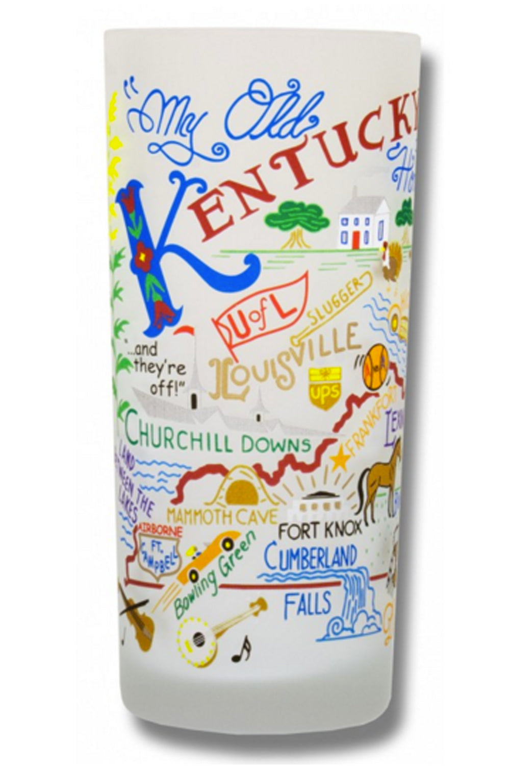 CS Frosted Glass Tumbler Cup - Kentucky