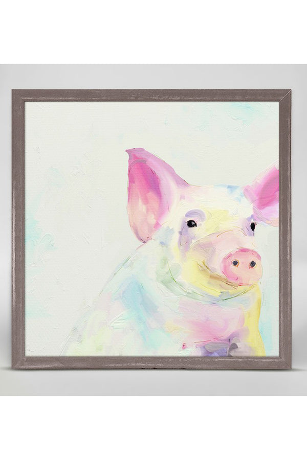 Rustic Mini Framed Canvas - Happy Pig