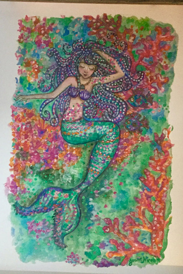 Unframed Collage - Purple Hair Mermaid