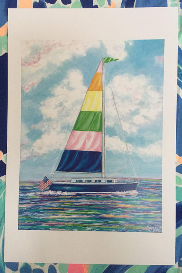 Unframed Collage - Pastel Sailboat