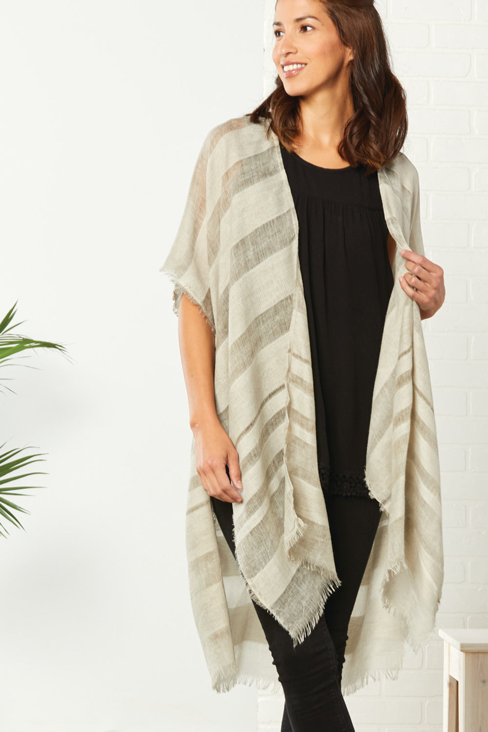 Sheer Stripe Duster - Tan