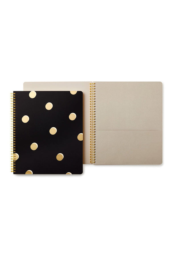 Large Kate Spade Spiral Notebook - Black & Gold Scatter Dot