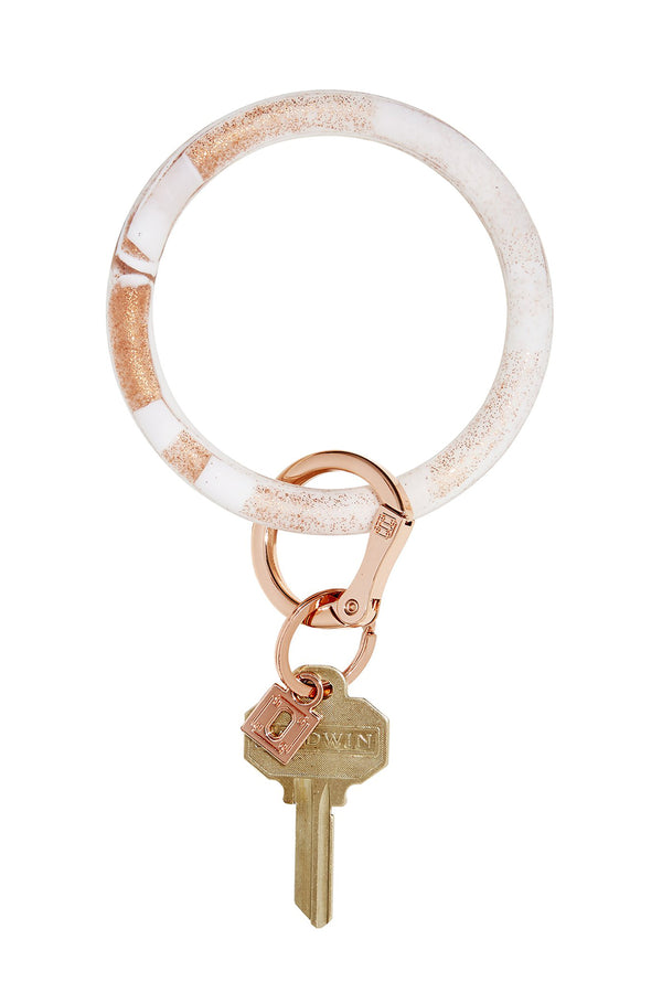 The BIG O Key Ring *Silicone* - Marble Rose Gold
