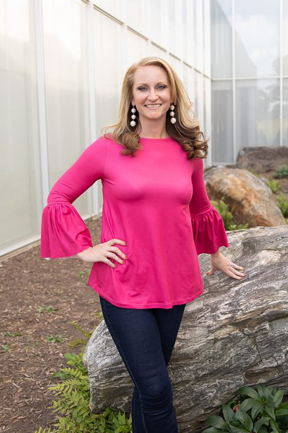 SIDEWALK SALE ITEM - Bell Sleeve Magenta Top