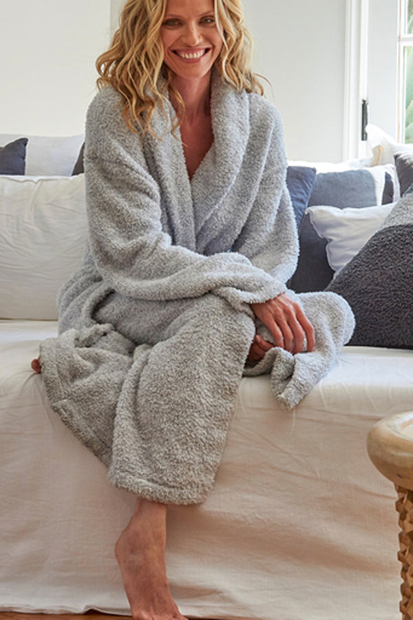CozyChic Heathered Bath Robe - Ocean & White