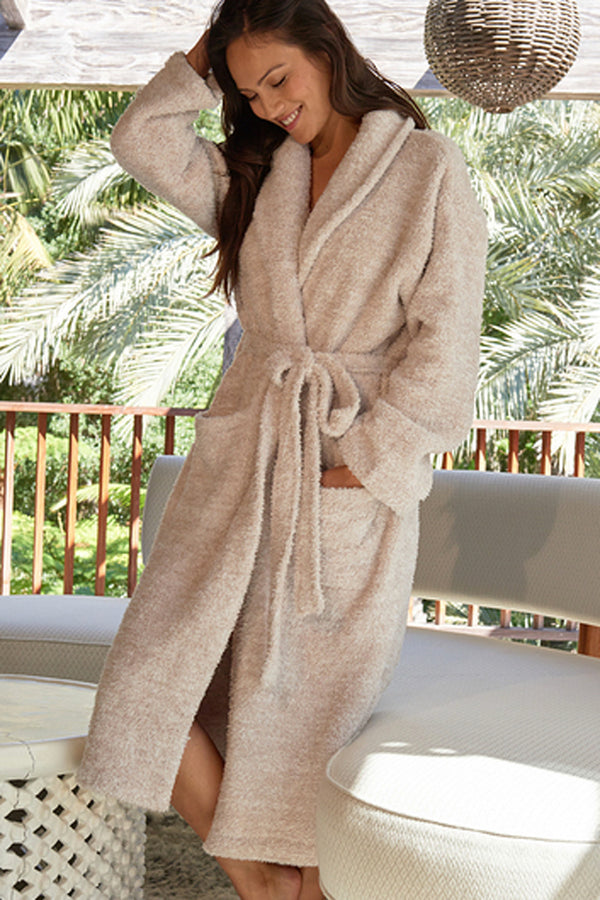 CozyChic Heathered Bath Robe - Stone & White