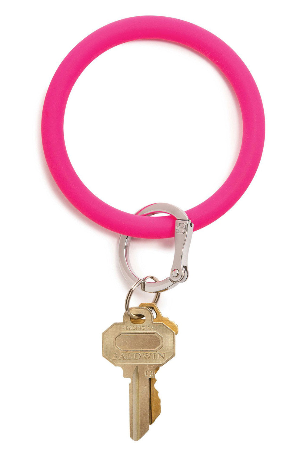 Silicone Big O Key Ring - Solid Tickled Pink
