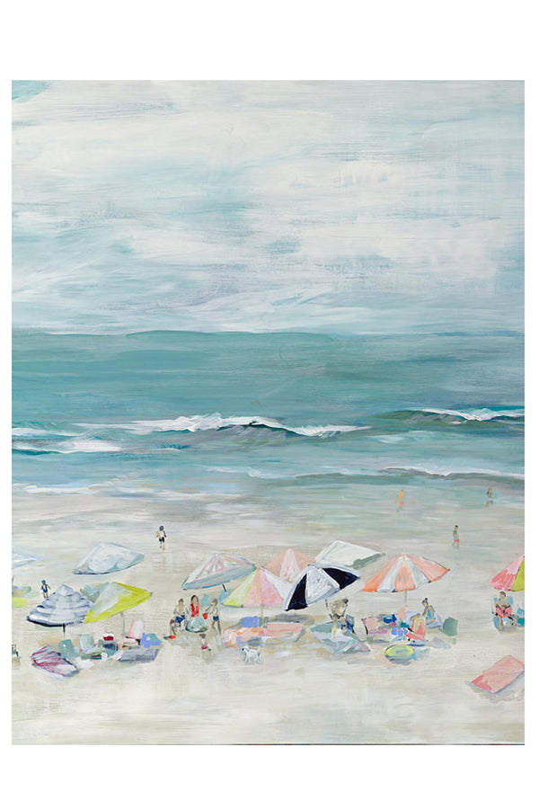 Kim Hovell Matted Print - Silver Sands Beach Scene