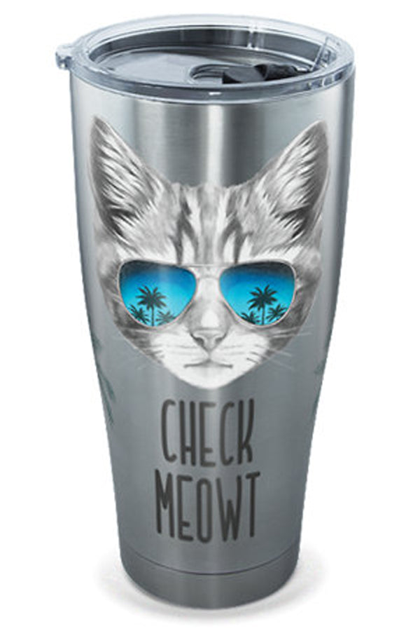 Stainless Steel Wrap Tumbler - Check Meowt Cat