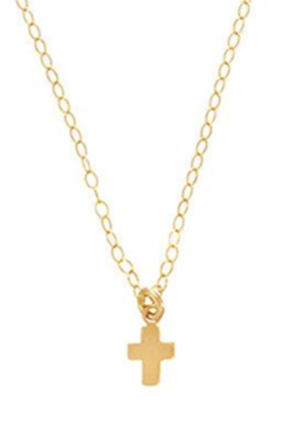 EN Tiny Believe Cross Necklace - Gold