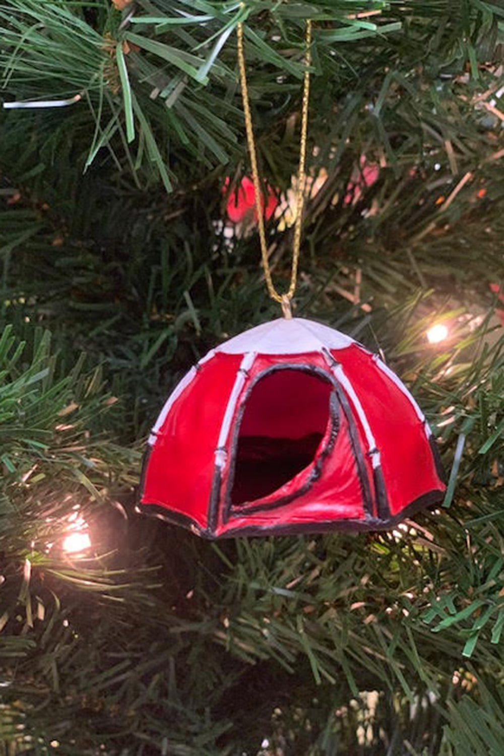 Resin Ornament - Tent Red
