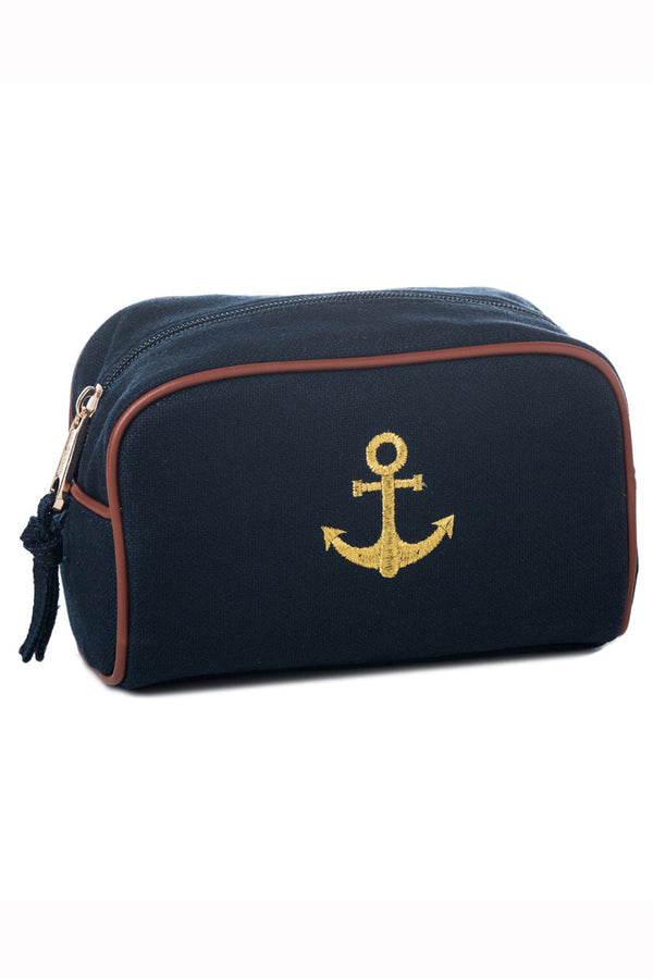 Fabric Travel Pouch - Navy Anchor