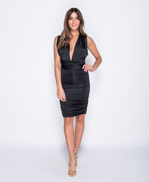 Halterneck Ruched Bodycon Black Dress