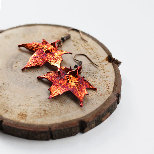 Red Maple Leaf Earrings