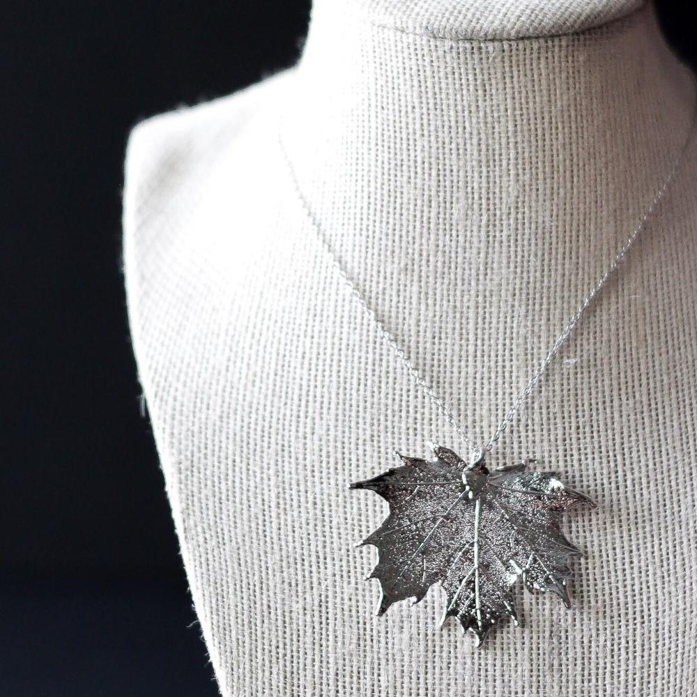 Silver Maple Leaf Necklace by Birch Jewellery