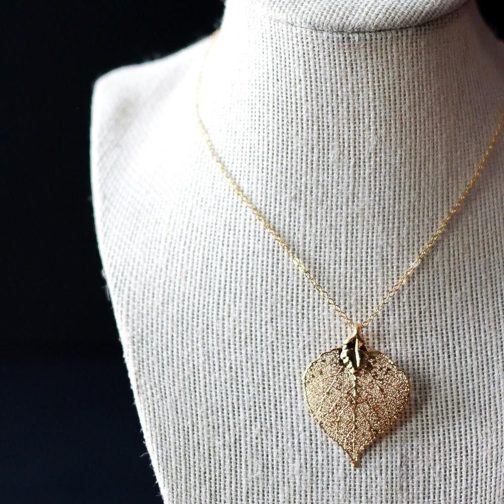 Gold Aspen Leaf Necklace by Birch Jewellery