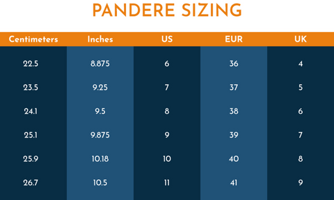 Pandere Shoes Size Chart