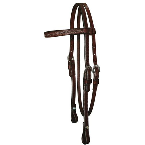"⅝"" Border Tooled Browband Headstall - Bronco Western Supply Co."
