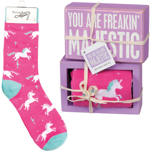 Box Sign & Sock Set - You Are Freakin' Majestic - Bronco Western Supply Co.