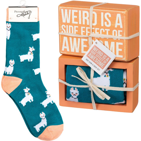Box Sign & Sock Set - Weird Side Effect Of Awesome - Bronco Western Supply Co.