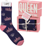 Box Sign & Sock Set - Queen Of Near Everything - Bronco Western Supply Co.