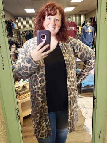 That Don't Impress Me Brushed Leopard Pocket Cardigan - Bronco Western Supply Co.